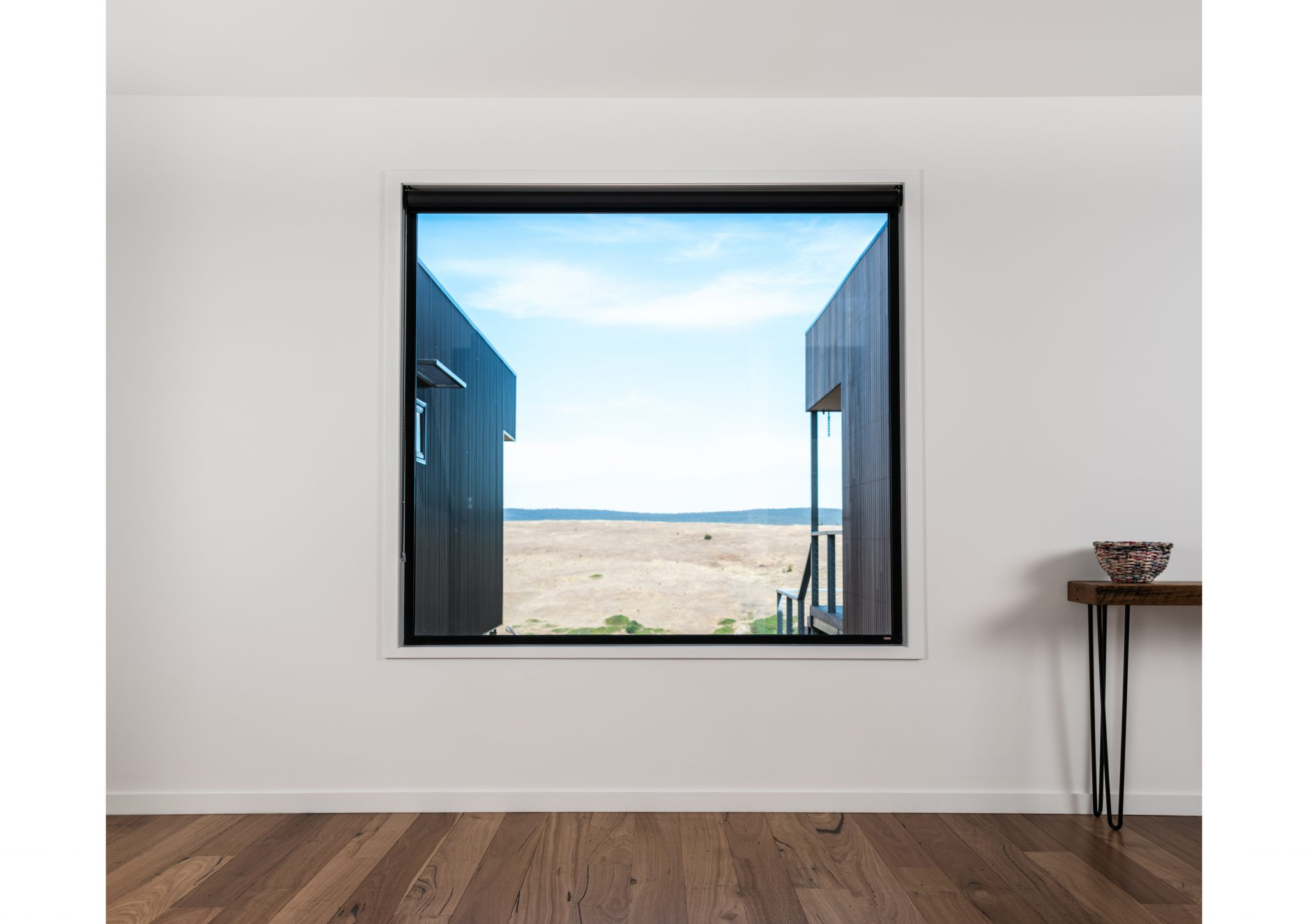 Taradale new home large black framed window view